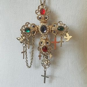 Rhinestone Cross totally 80s retro necklace